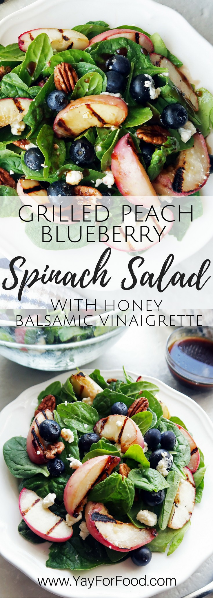 A fresh summer salad with grilled peaches, blueberries, feta, and pecans! A simple honey balsamic vinaigrette complements the sweet, salty, and nutty flavours!