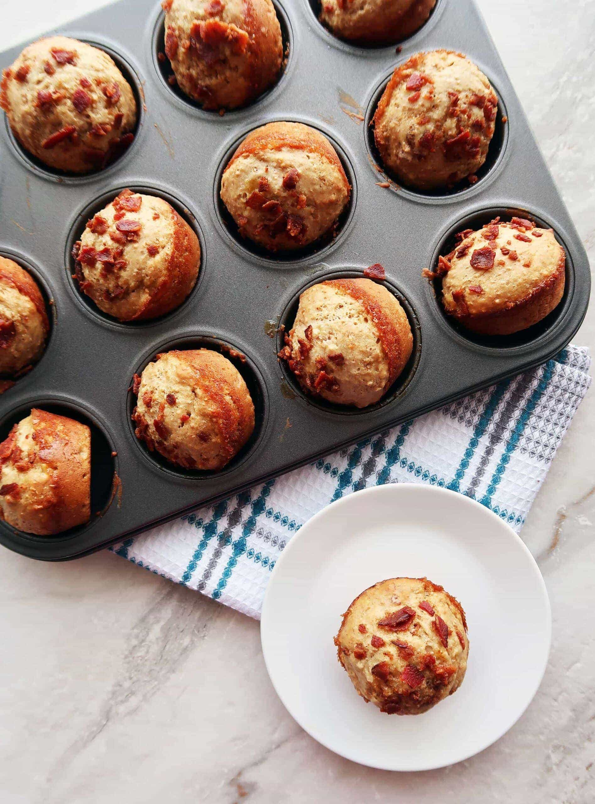 Healthier Maple Bacon Banana Muffins