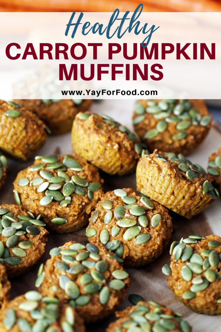 Enjoy this delicious Fall recipe for healthy carrot pumpkin muffins. Made with whole wheat flour and without butter or refined sugar. #yayforfood #pumpkinmuffins #pumpkinrecipes #falldesserts