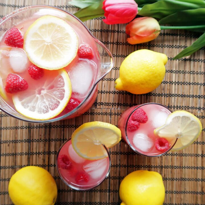 Homemade Raspberry Green Tea Lemonade