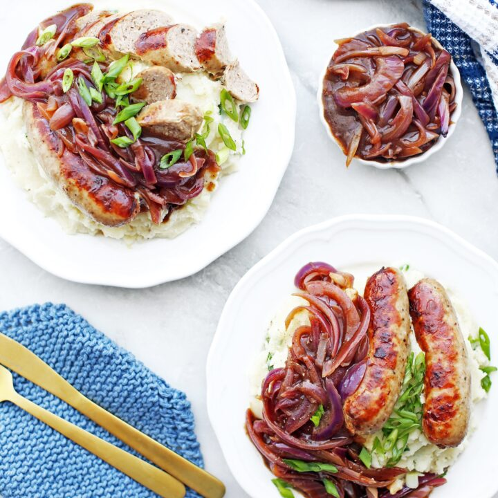 Instant Pot Bangers and Mash with Onion Gravy