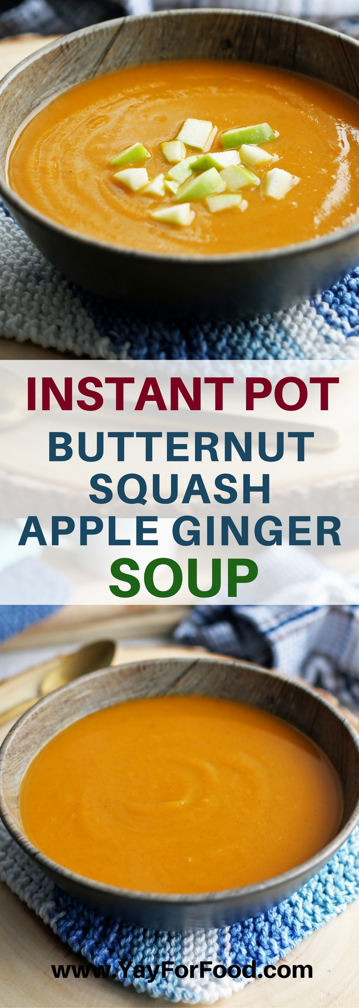 Warm up with a hot bowl of delicious and healthy Butternut Squash Apple Ginger Soup! It's vegan and gluten-free too.