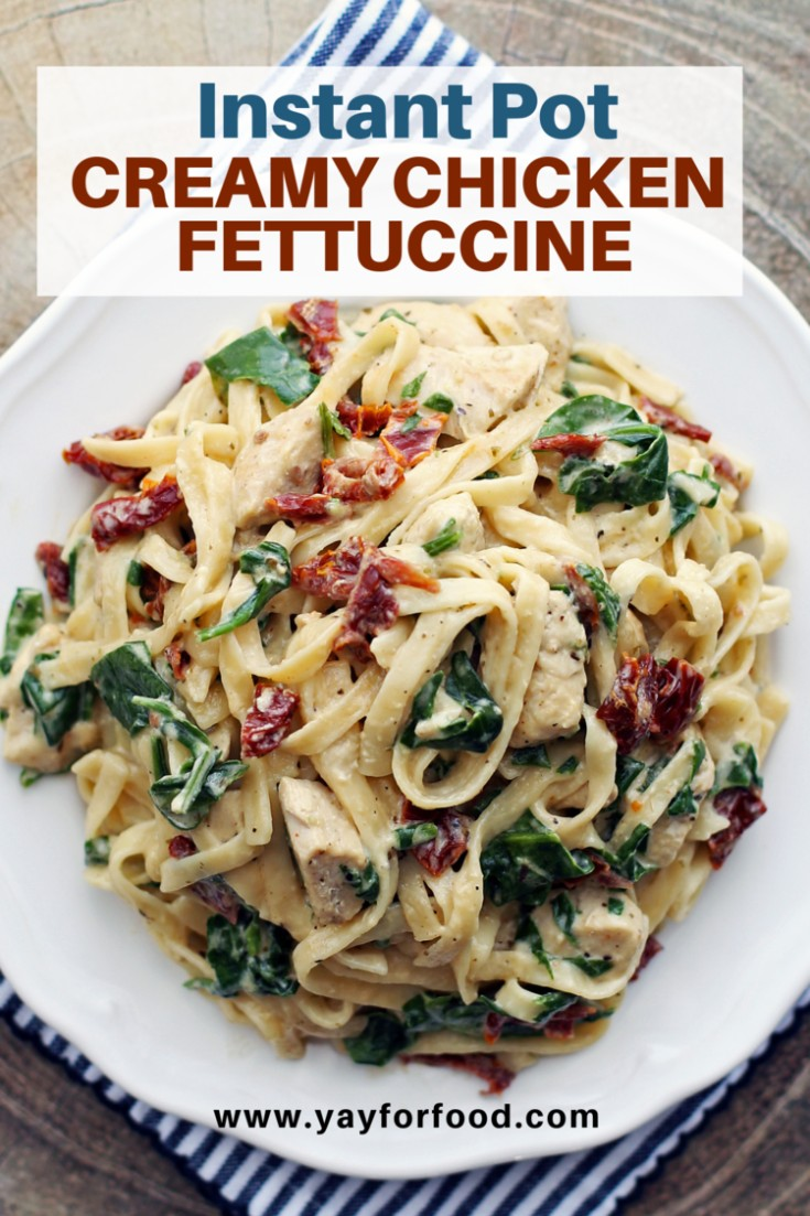 A creamy and delicious chicken pasta recipe made easy with the Instant Pot. Finished with fresh spinach and vibrant sun-dried tomatoes, it's a perfect weekday family meal.