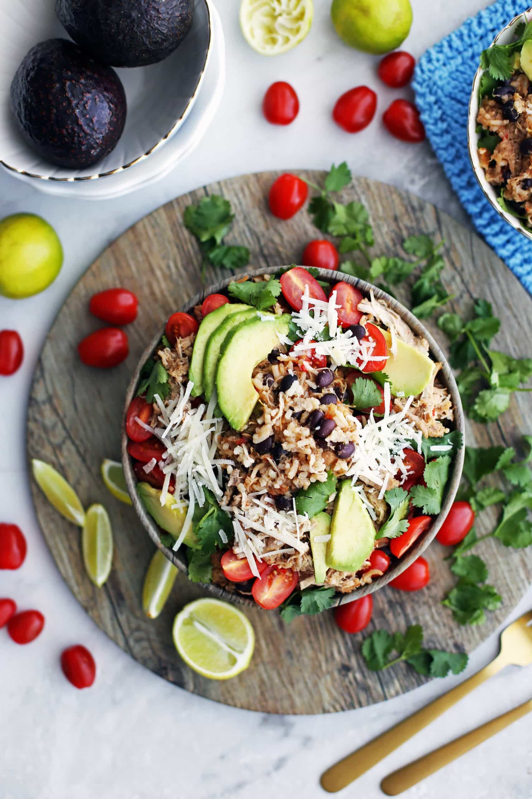 Instant Pot Chicken and Rice Burrito Bowls