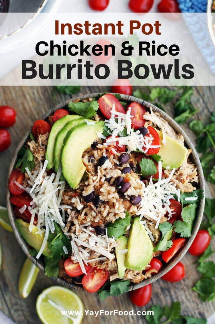 A delicious and flavourful gluten-free meal, Instant Pot Chicken and Rice Burrito Bowls are so quick to prepare! Perfect to serve the whole family or for meal prep!