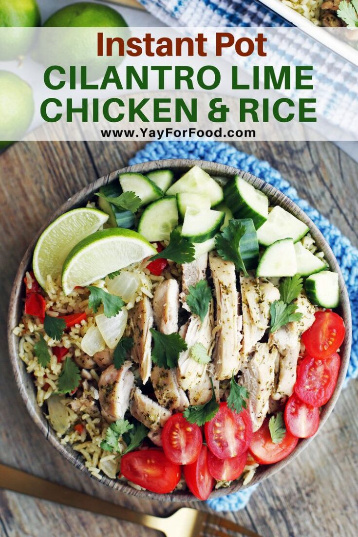 Bright, flavourful, and quick to prepare. This Instant Pot recipe features chicken and rice cooked in an easy to make cilantro and lime sauce. Top it off with fresh vegetables for a perfect family dinner.