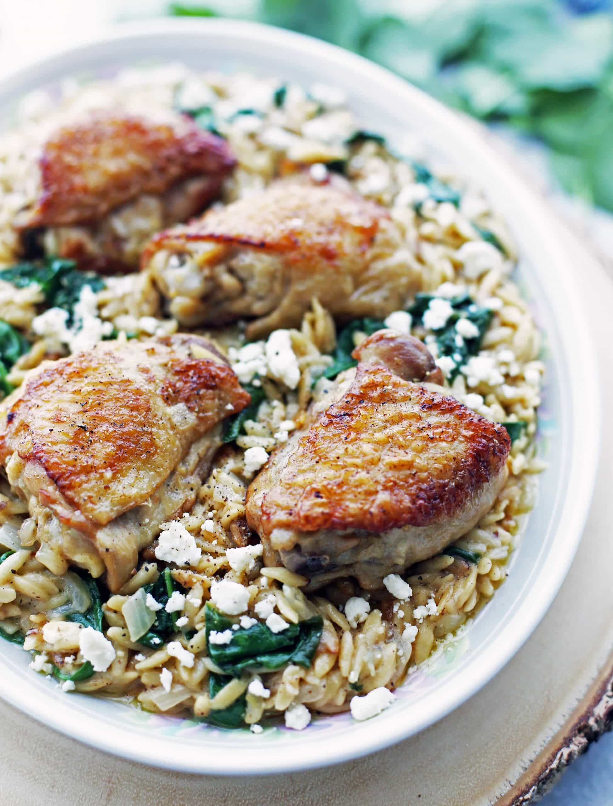 Instant Pot Lemon Pepper Orzo with Chicken Thighs