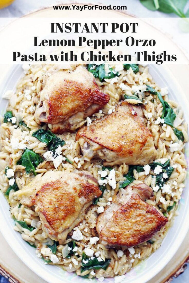 Tasty, flavourful, and super easy to make in the Instant Pot! This lemon pepper orzo (aka risoni) and chicken dish is perfect for a weeknight meal.