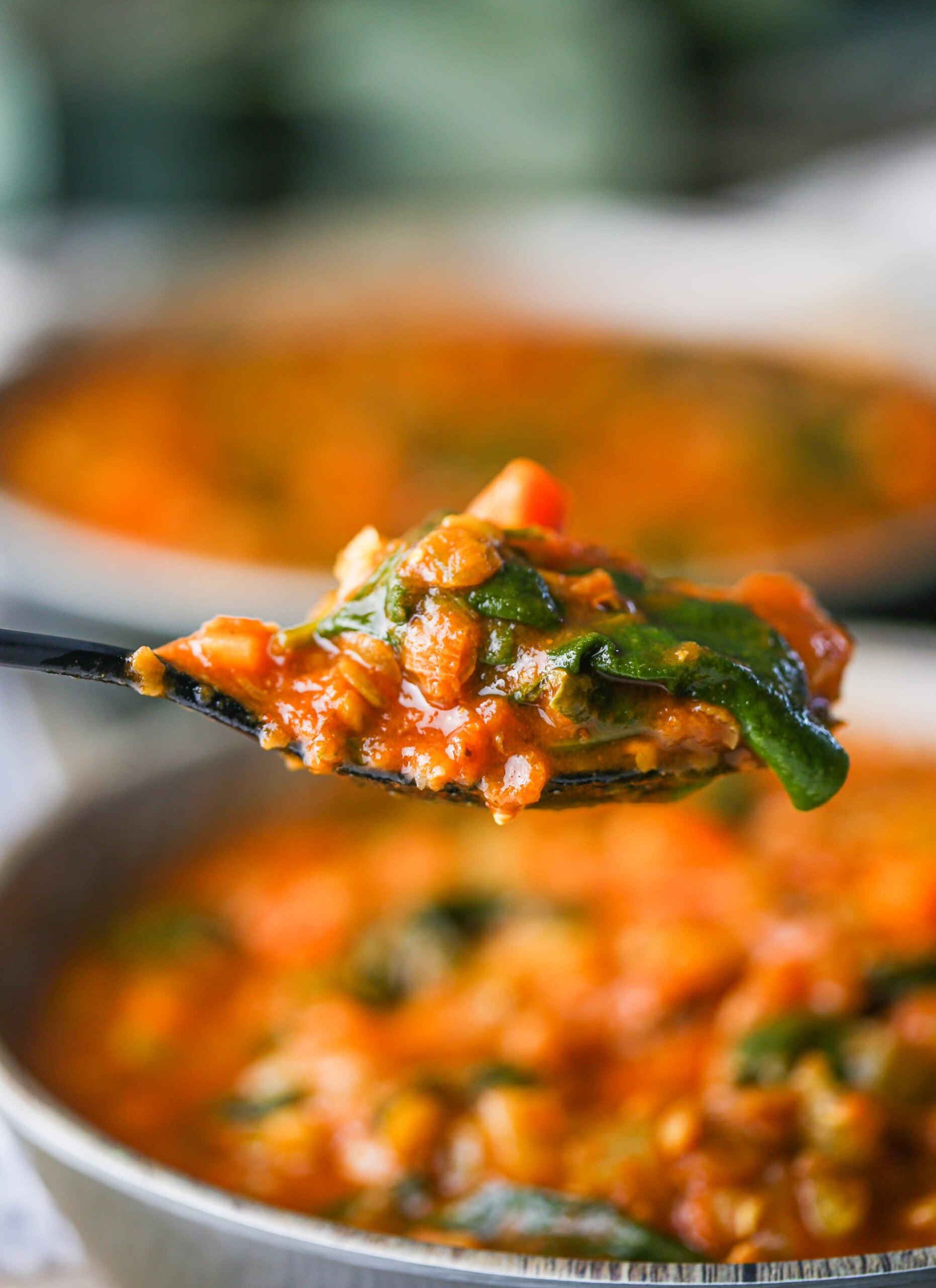 A closeup shot of spoonful of hearty Instant Pot Lentil Soup.