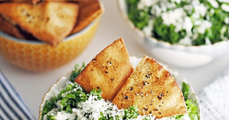 Parmesan Kale Salad with Garlic Lime Dressing and Pita Chips