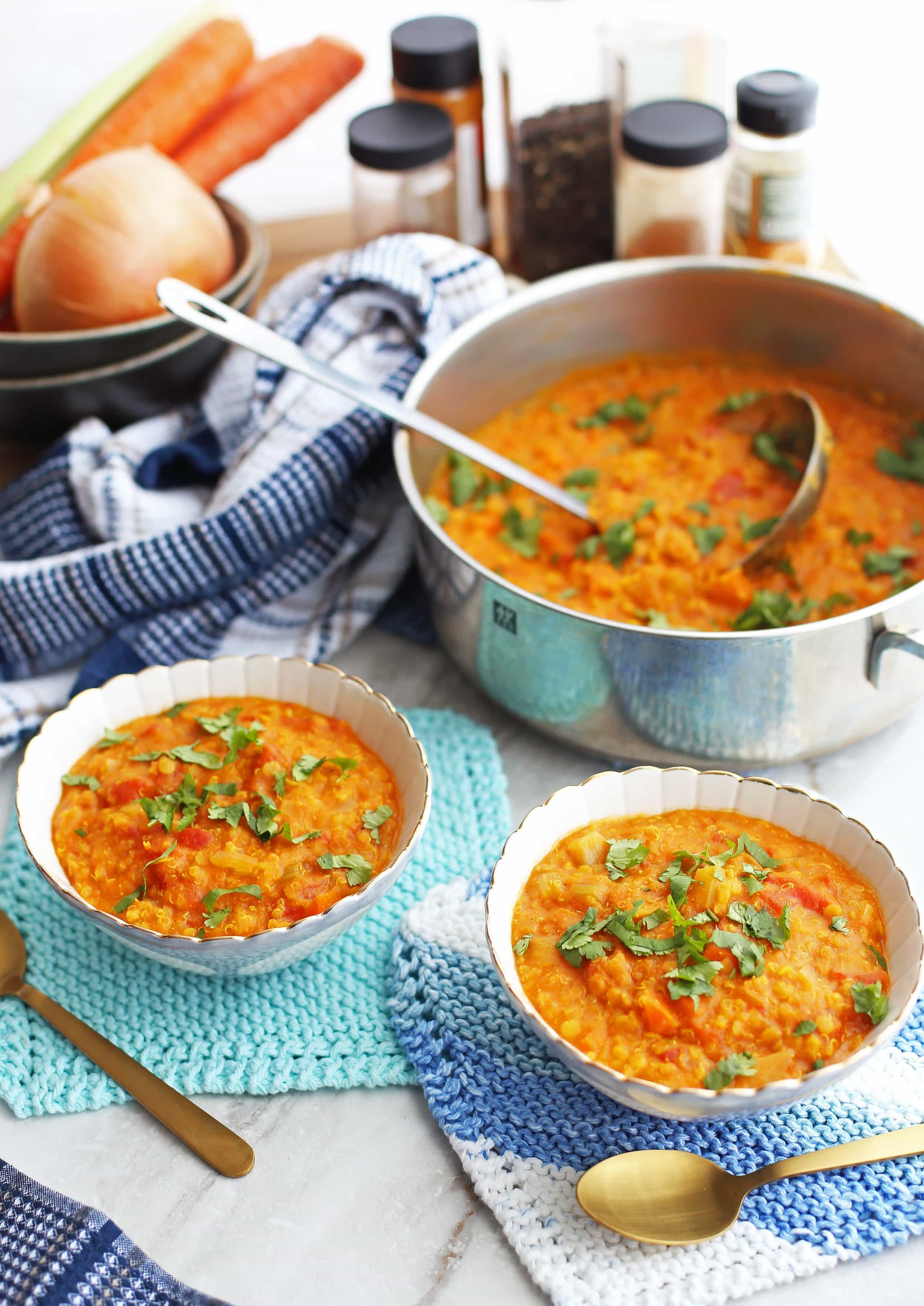 Two bowls of Curried Red Lentil and Quinoa Vegetable Soup with more soup in a large pot.