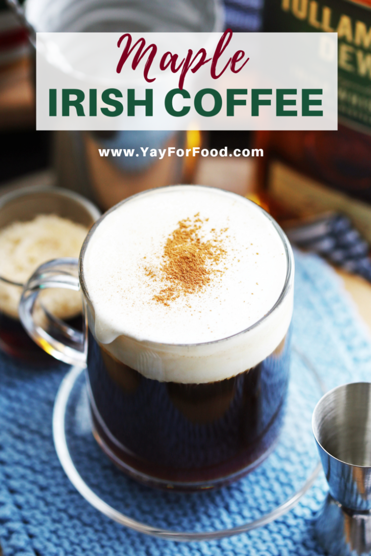 A simple, warm, and satisfying Irish coffee recipe featuring the delicious sweetness of maple syrup. It's perfect for St. Patrick's day or as an after-dinner drink any day of the year.