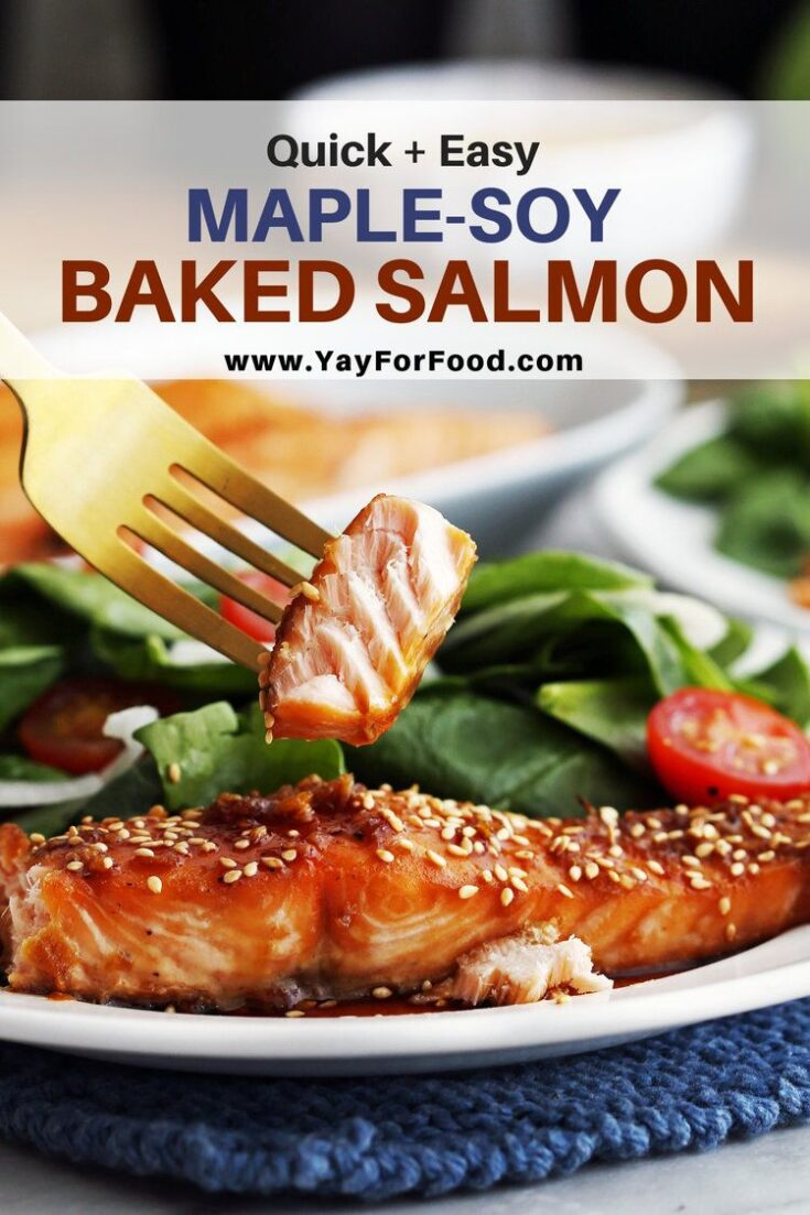 Sweet, salty, and simple to prepare. This easy baked salmon recipe uses maple syrup and soy sauce as both a marinade and a sauce for a quick and delicious meal.