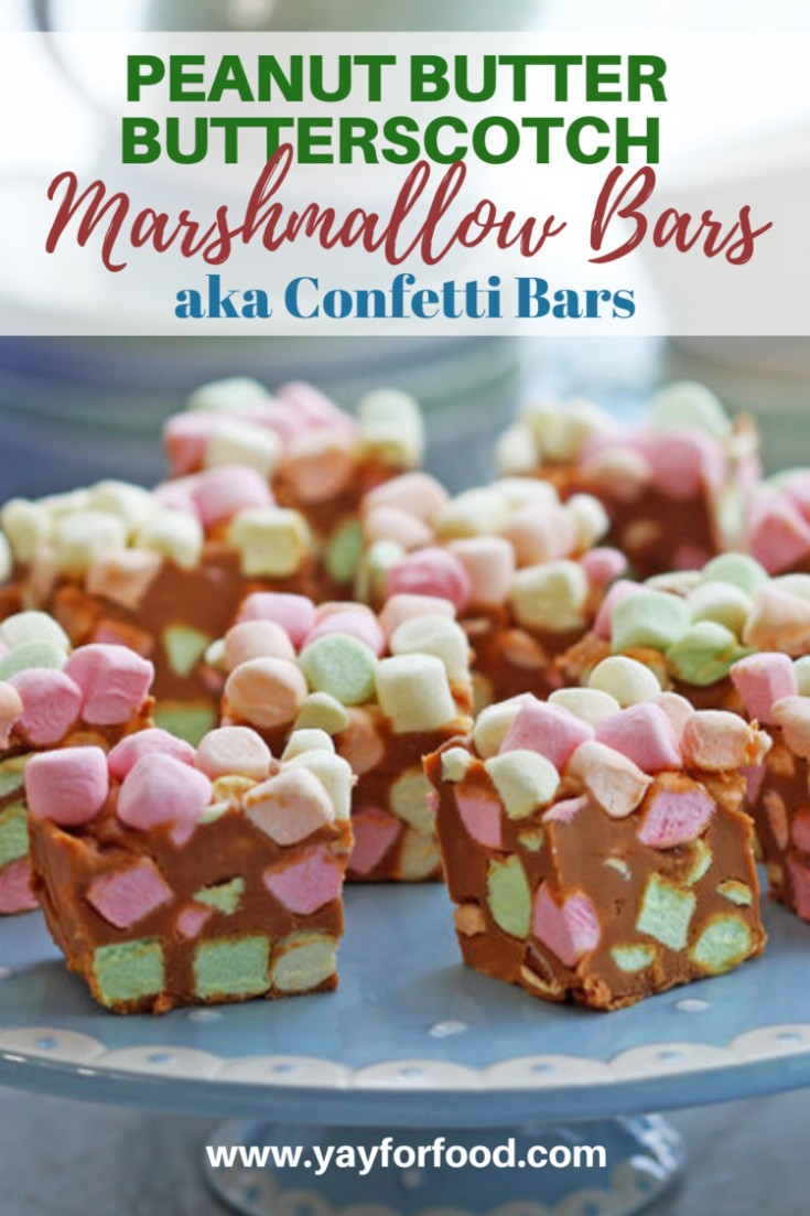 A sugary treat that tastes like peanut butter butterscotch fudge with soft, sweet colourful marshmallows. Only four ingredients and there's no baking required!