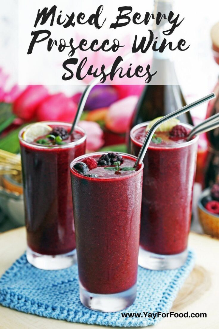 A refreshing blend of berries and Prosecco. This wine slushie drink recipe takes only 5 minutes to prepare and will help keep you cool on a hot day!
