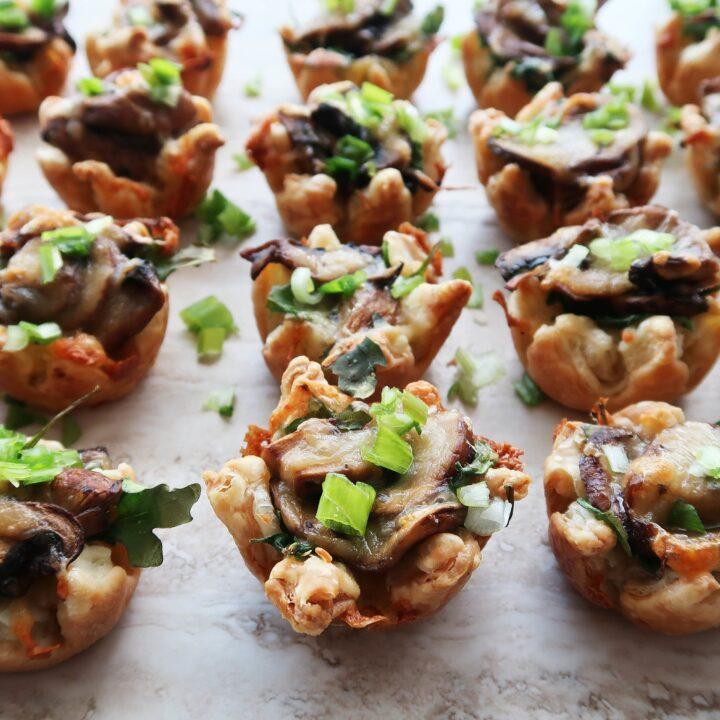 Mushroom Arugula Cheese Mini Tarts