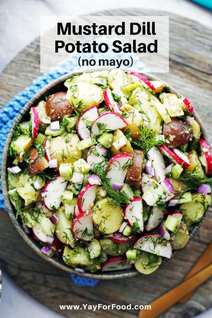 The bold flavour of dijon mustard teams up with earthy dill in this no mayo, vegetarian potato salad recipe. With textures ranging from creamy to crunchy, this salad makes for the perfect quick and easy side dish.