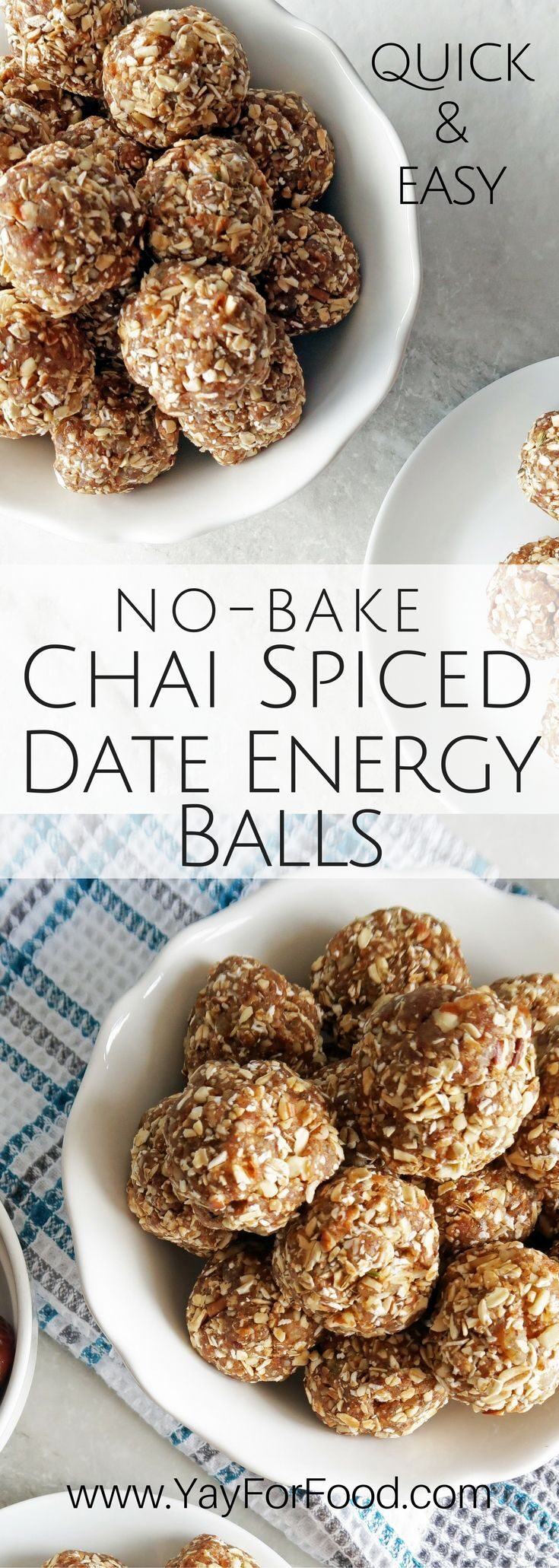 Snack on these tasty, portable chai-spiced Medjool date energy balls with dried peaches, pecans, and rolled oats! No baking required, takes only 15 minutes!