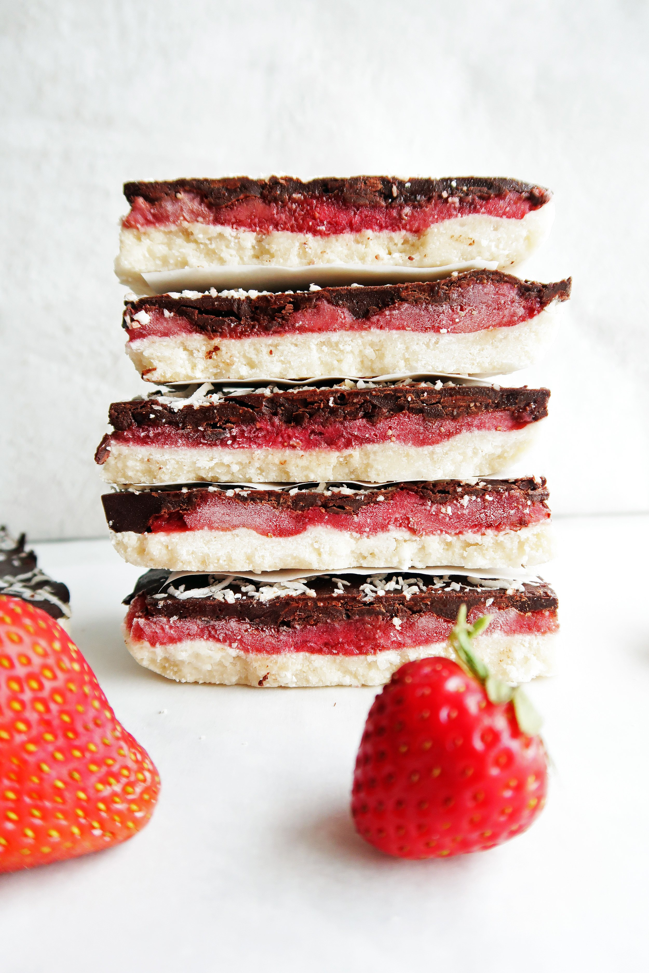 No-Bake Chocolate Strawberry Coconut Bars