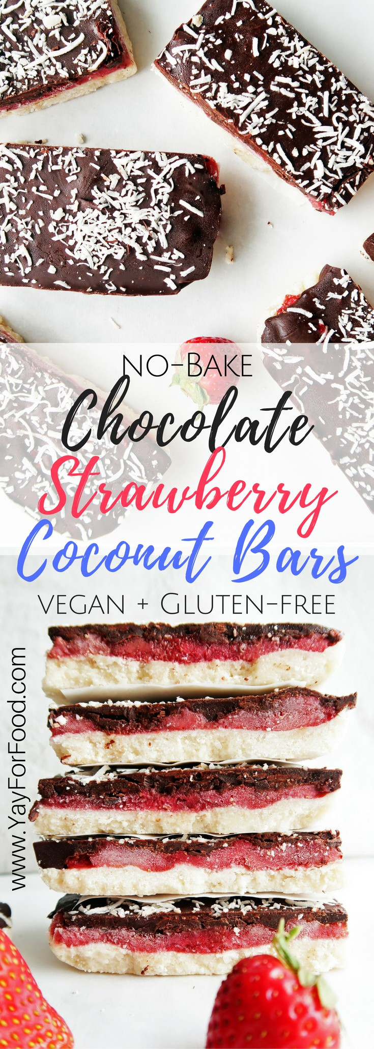 This delicious triple-layered chocolate strawberry coconut bar is no-bake, only uses 6 ingredients, and is ready in 30 minutes! Vegan and gluten-free too!