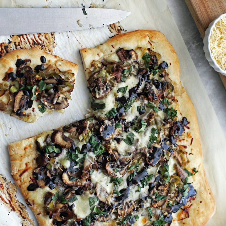 One-Hour Leek Mushroom Mozzarella Pizza (from scratch!)