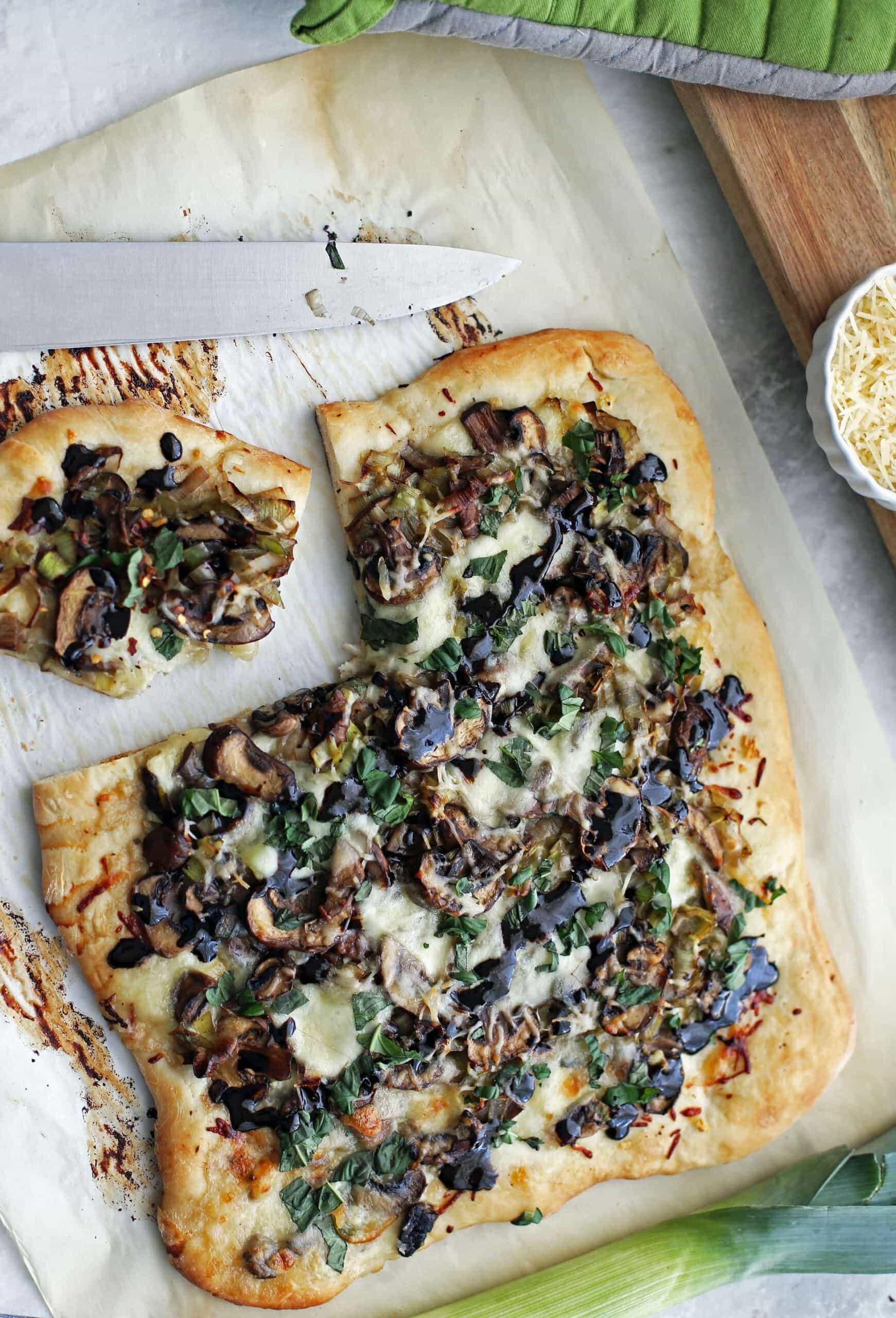 One-Hour Leek Mushroom Mozzarella Pizza (from scratch!)