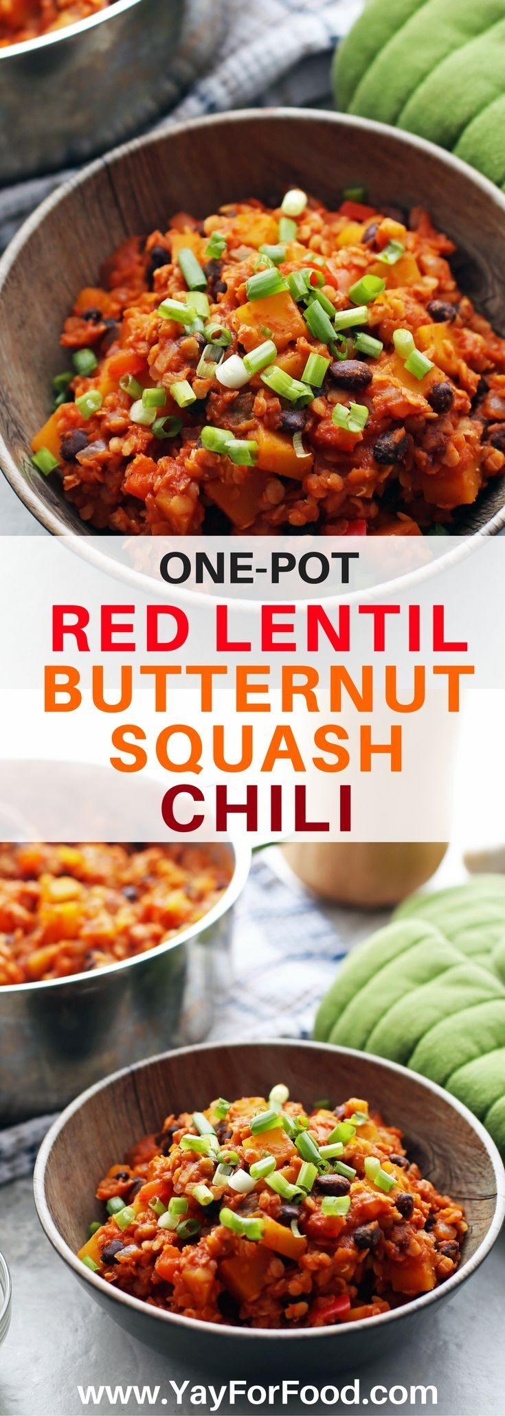 Flavourful, hearty, and ready in one hour! Try this delicious and healthy one-pot vegan chili featuring red lentils and butternut squash. Perfect for chilly days!