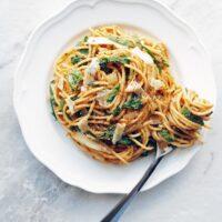 One Pot Spaghetti with Creamy Pumpkin Sauce