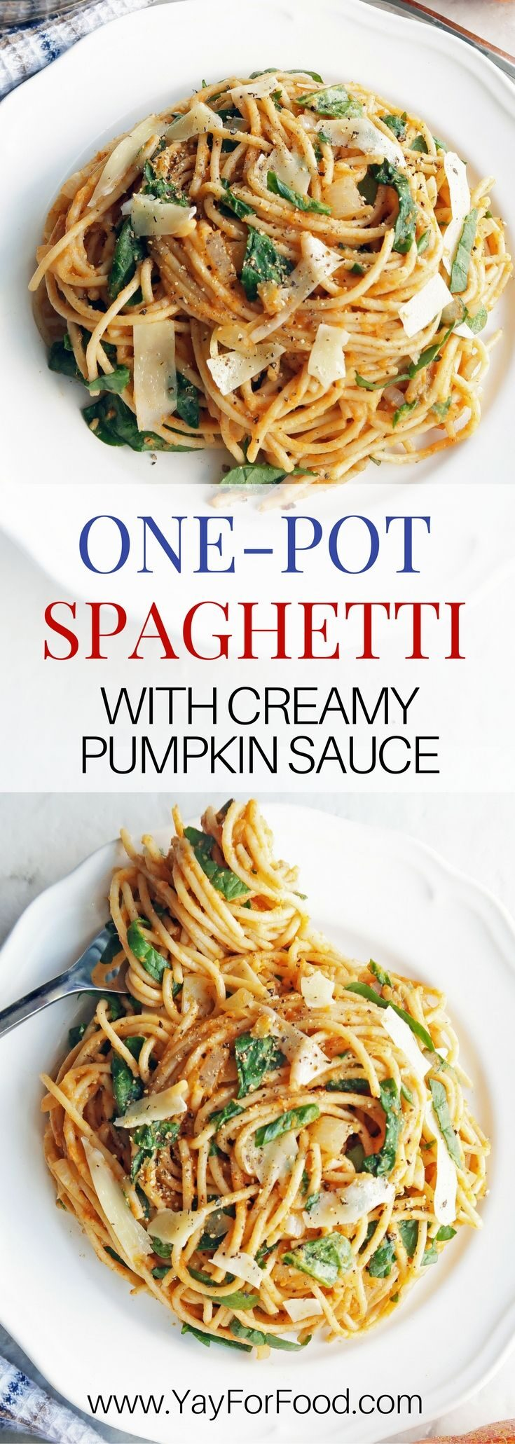 Pasta with creamy pumpkin sauce is ready in 25 minutes and made in one-pot. This savoury meal is perfect for a quick weekday dinner or a lazy weekend meal.
