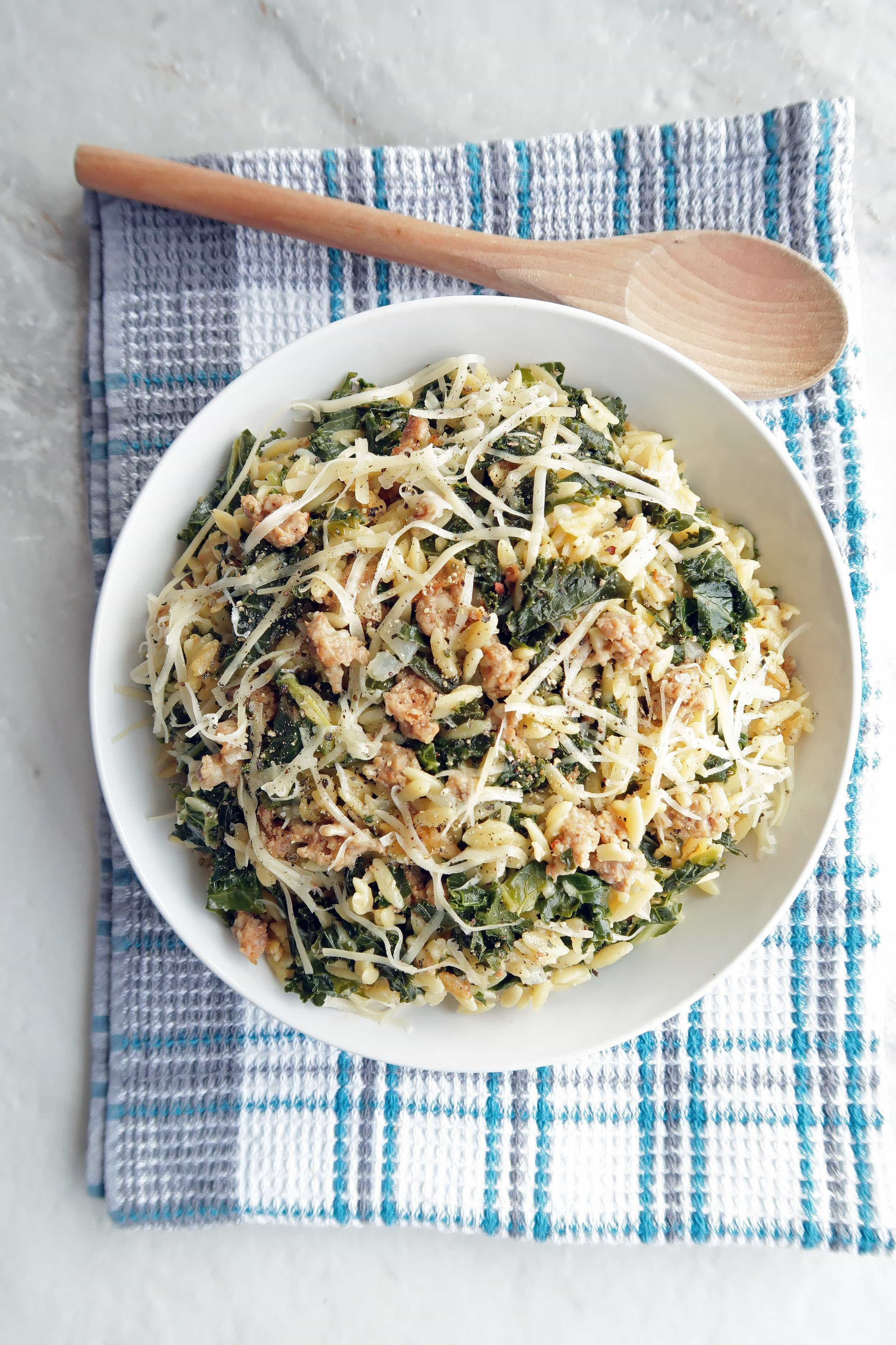 One-Pot Orzo Pasta with Italian Sausage and Kale