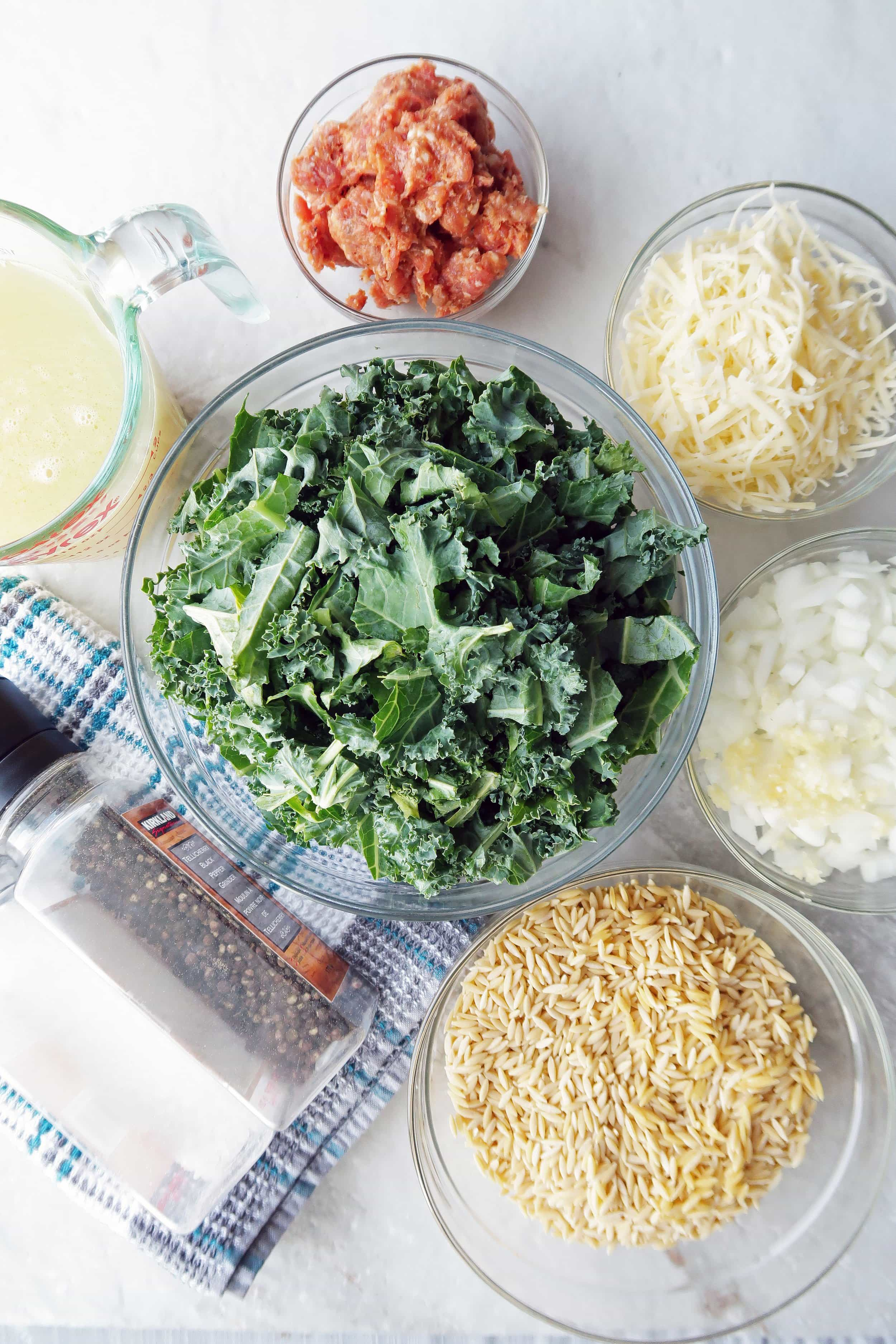 Orzo, onions, kale, cheese, sausage, chicken broth in different glass bowls with salt and pepper grinders.