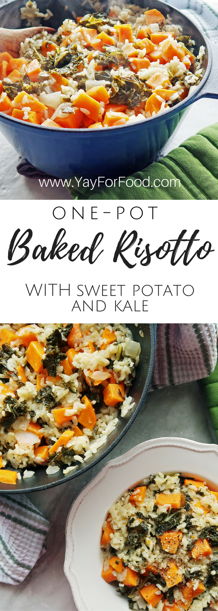 Enjoy this easy to prepare baked risotto filled with heart-healthy kale and sweet potato. A filling, oven-baked dish that's made in one-pot so cleanup is a breeze!