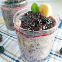 Overnight Chia Seed Pudding with Blackberries and Bananas