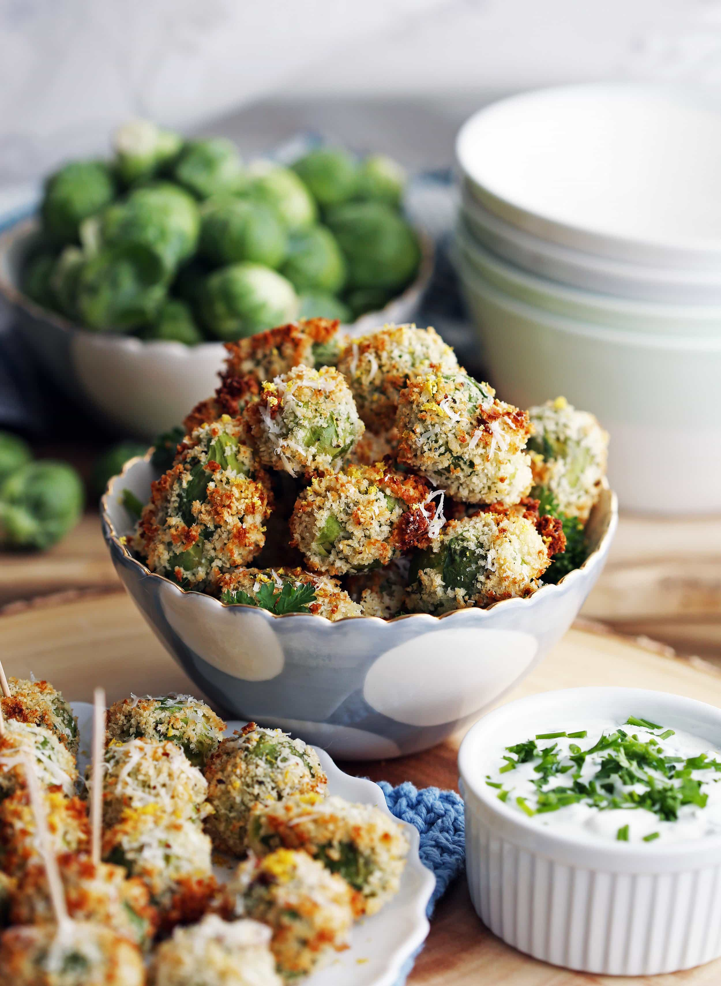 Parmesan Brussels Sprouts with Sour Cream Herb Dip