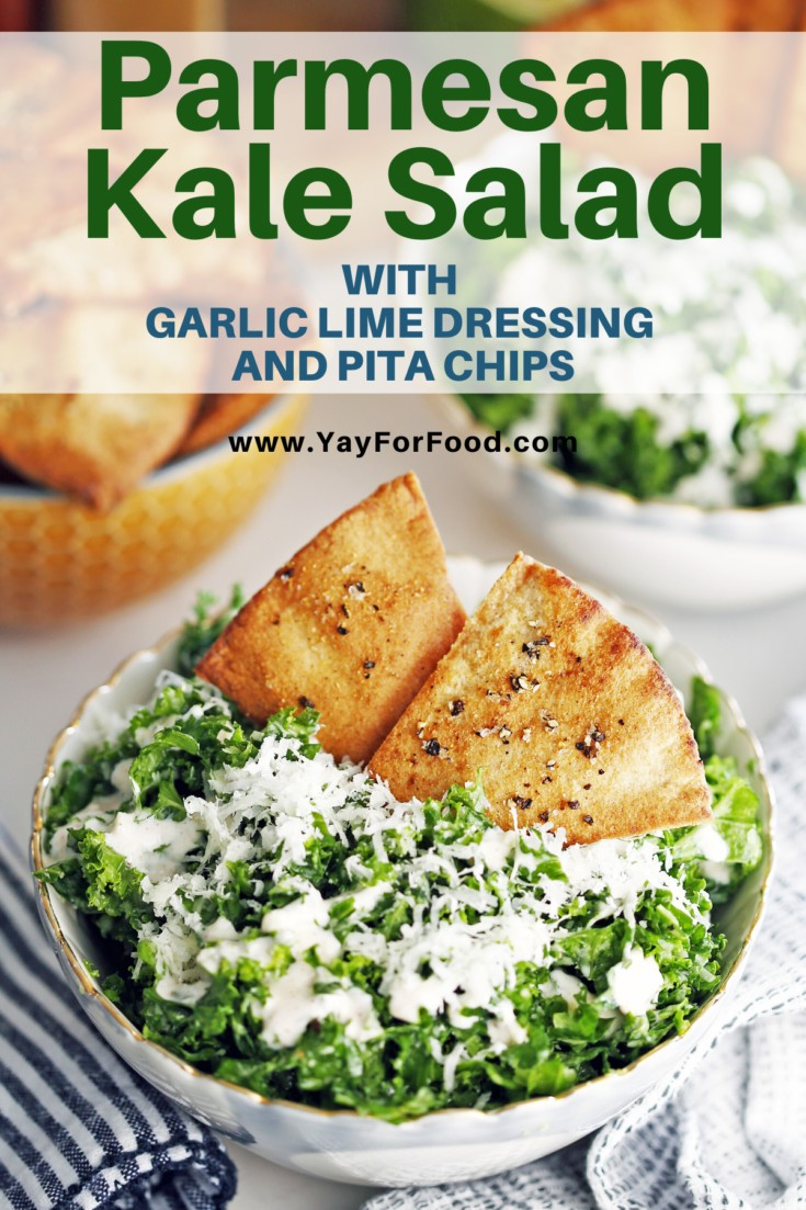 Quick homemade pita chips are the perfect compliment to this simple and delicious parmesan kale salad. Finished with a bright and tangy lime dressing. #yayforfood #kalesalad #saladrecipes #pitachips #dressing #sidedishes #healthyrecipes #salads