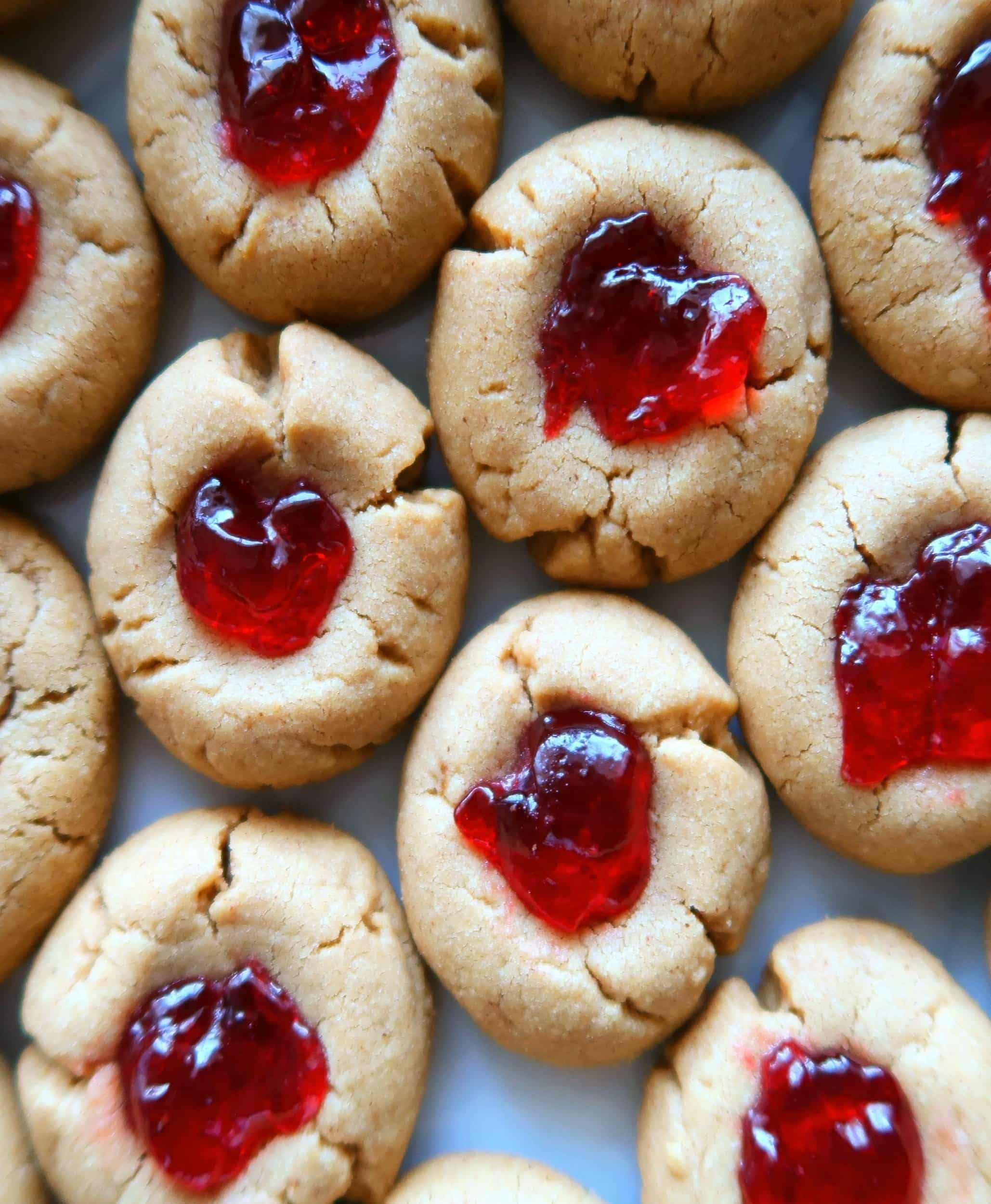 Peanut butter thumbprint cookies filled with jelly.