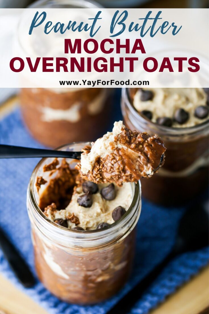Sweet, creamy, and delicious. Enjoy the timeless combination of chocolate and coffee with this no-bake peanut butter mocha overnight oats recipe. #yayforfood #overnightoats #breakfast #snacks #desserts #peanutbutter #mocha