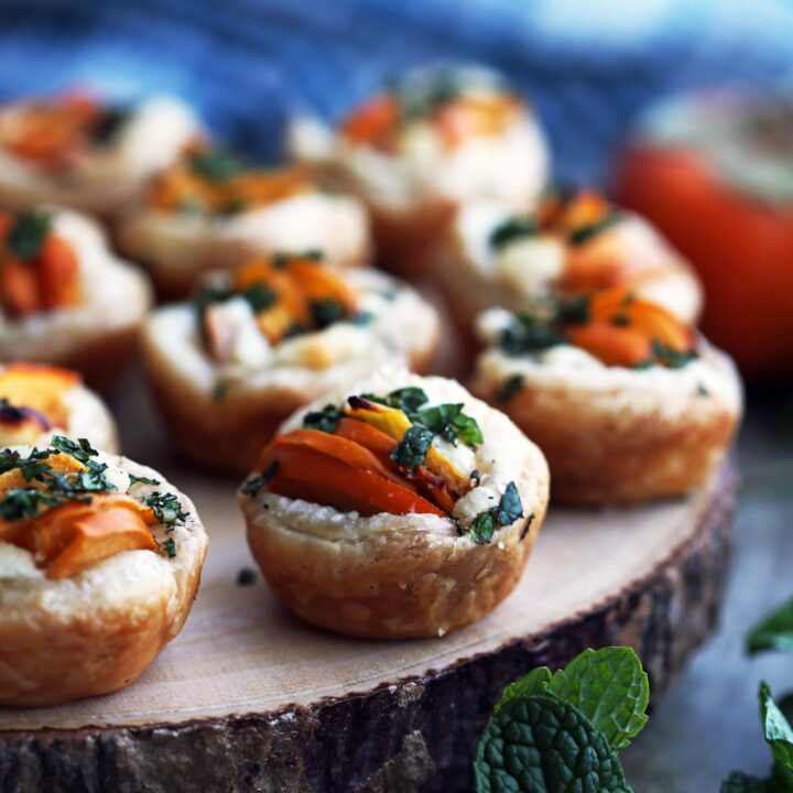 Persimmon Goat Cheese Tartlets
