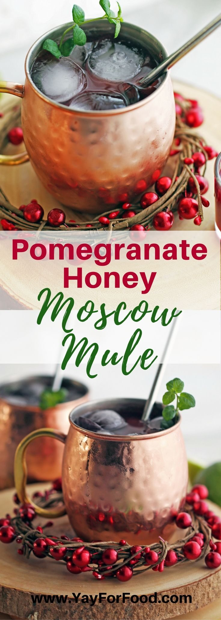 Pomegranate Honey Moscow Mules are a lovely seasonal twist on the classic Moscow Mule. It's a festive and refreshing drink that's perfect to sip on during the holidays!
