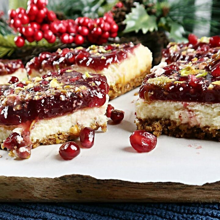 Pomegranate Pistachio Cheesecake Bars