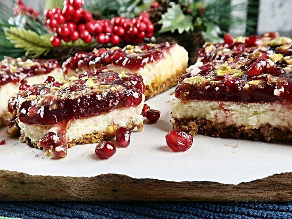 Pomegranate Pistachio Cheesecake Bars