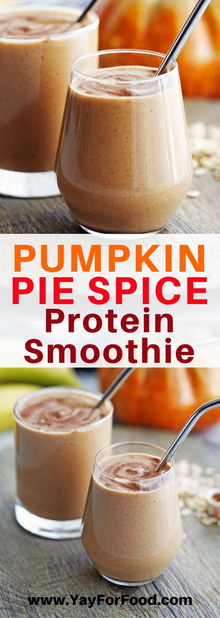 Creamy and delicious! This protein packed smoothie is fall-inspired with the warming flavours of pumpkin pie spice! It only has six ingredients and takes five minutes or less to make!