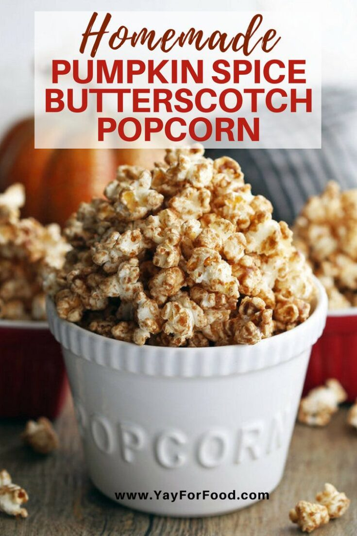 A perfect fall snack! Try this flavourful sweet, spiced popcorn with scratch made pumpkin spice mix and butterscotch sauce!