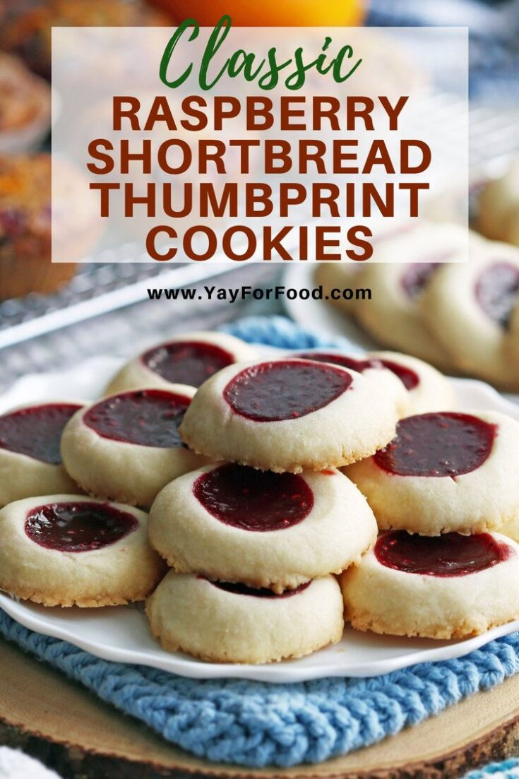 Classic buttery shortbread is filled with sweet and tart raspberry jam in this quick and easy thumbprint cookie recipe. Made with simple ingredients, these delicious cookies are great for sharing during the holidays.