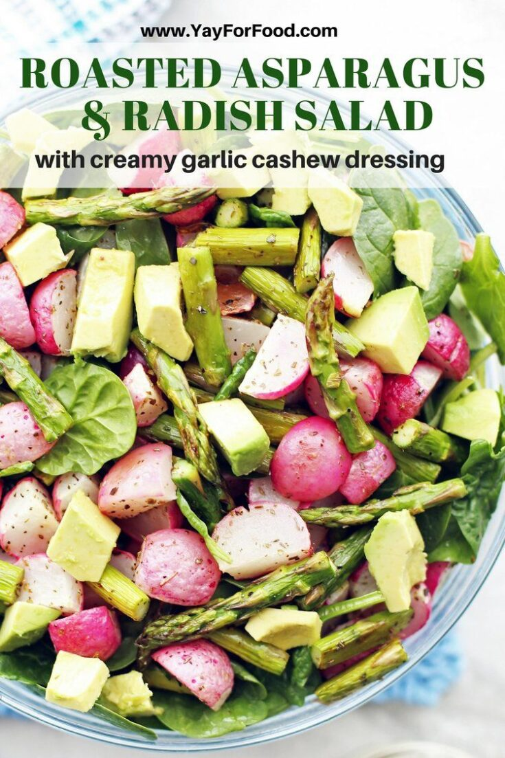 Featuring tender-crisp roasted asparagus and radishes, this fresh spinach salad recipe is loaded with healthy ingredients. Together with a homemade creamy cashew dressing, this salad makes for a delicious vegan meal or side.