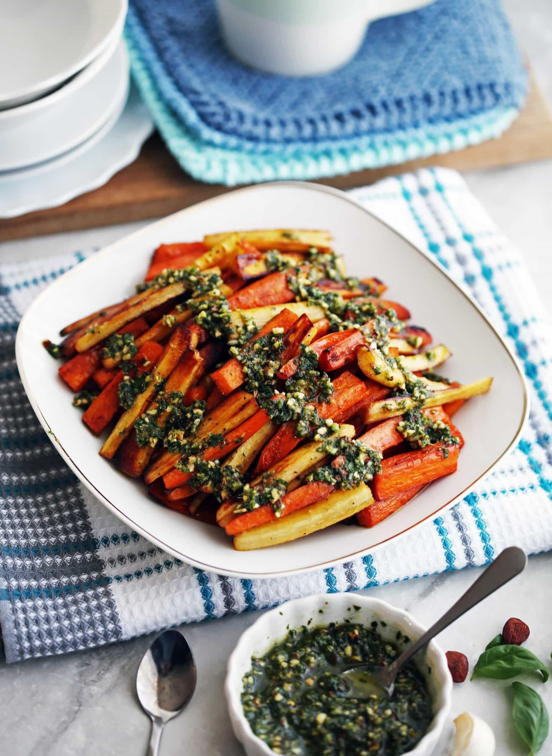 Roasted Balsamic Root Vegetables with Basil Almond Pesto