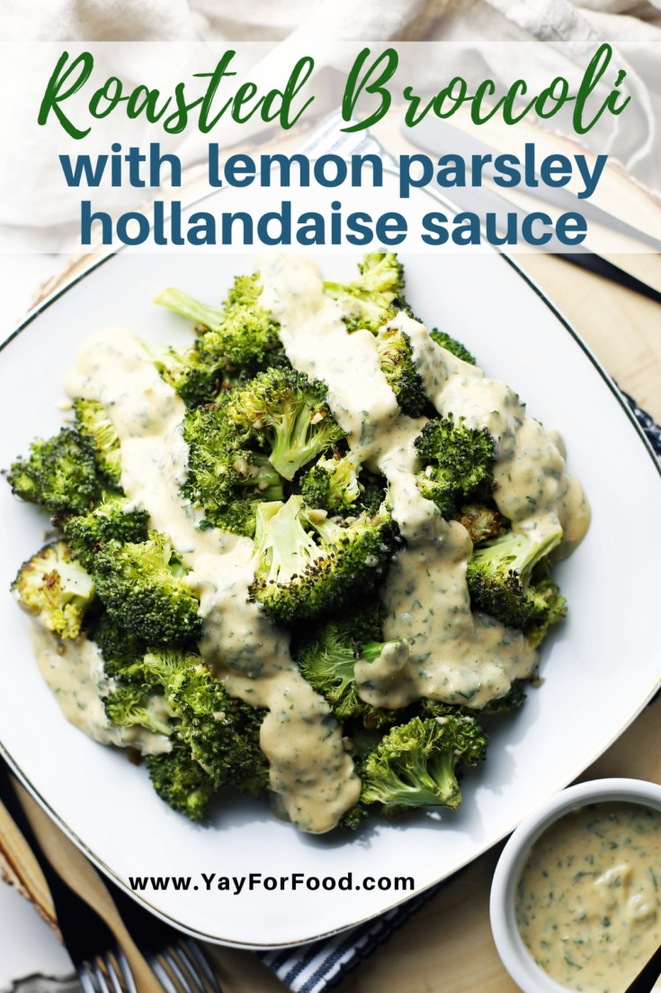 Simple and delicious roasted broccoli is elevated with the addition of bright, beautiful lemon hollandaise sauce in this savoury side dish recipe. #breakfastrecipes #sidedishes #easyrecipes #hollandaisesauce #broccoli #quickrecipes
