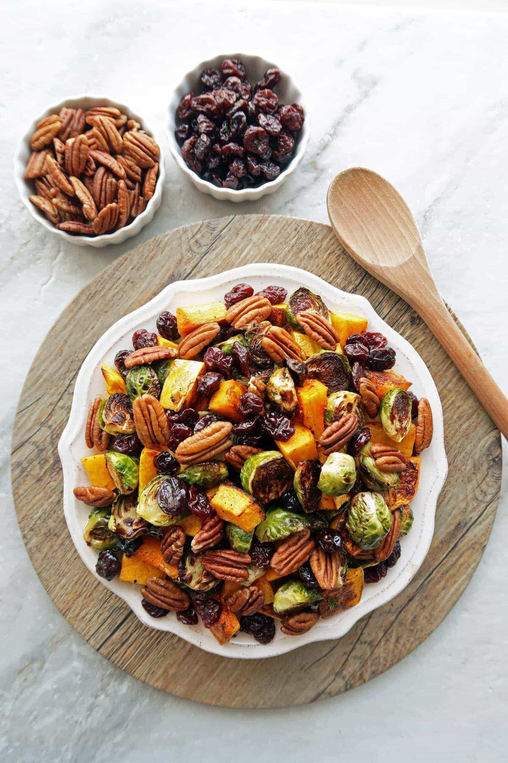 Roasted Butternut Squash and Brussels Sprouts with Pecans and Dried Cherries
