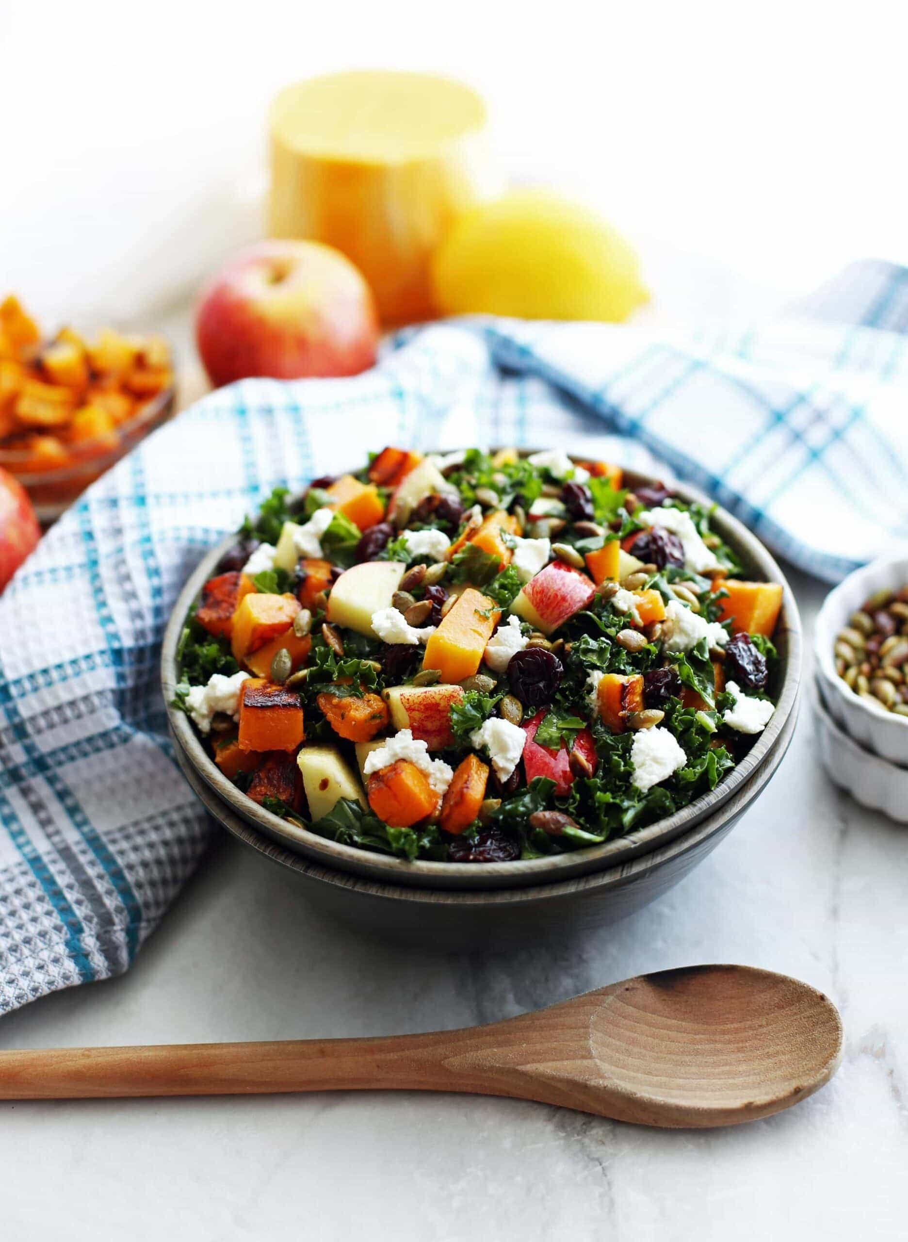 Roasted Butternut Squash and Apple Kale Salad with Lemon Vinaigrette