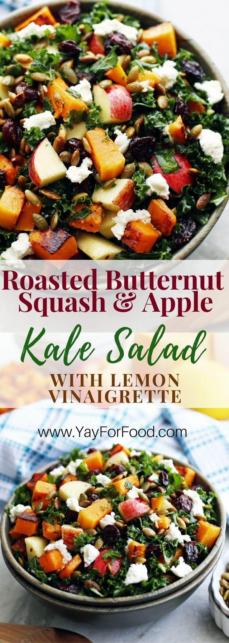A delicious and healthy fall harvest salad! This colourful vegetarian salad is filling enough to be a meal and features roasted butternut squash, toasted pumpkin seeds, massaged kale, and a quick homemade lemon dressing!